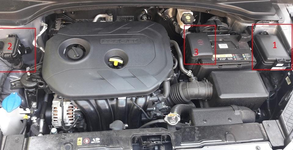 Блок предохранителей и реле в моторном отсеке Hyundai Creta
