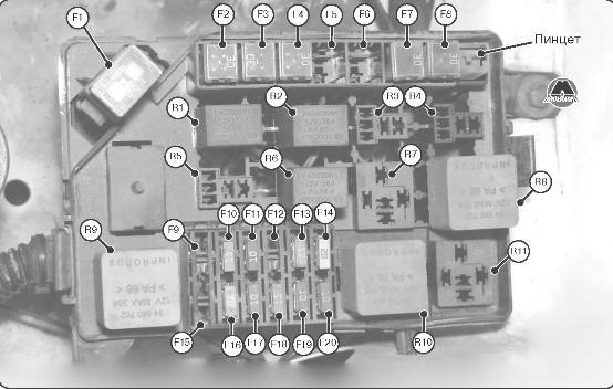 Блок предохранителей и реле в моторном отсеке Део Ланос