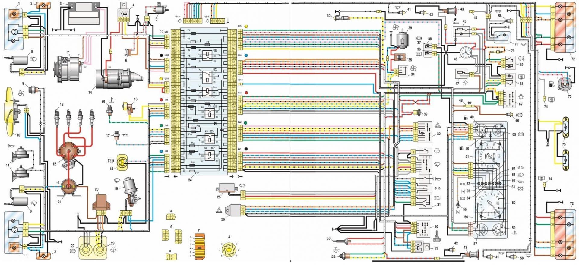 Схема блока предохранителейВАЗ 2107(полная электрическая схема)