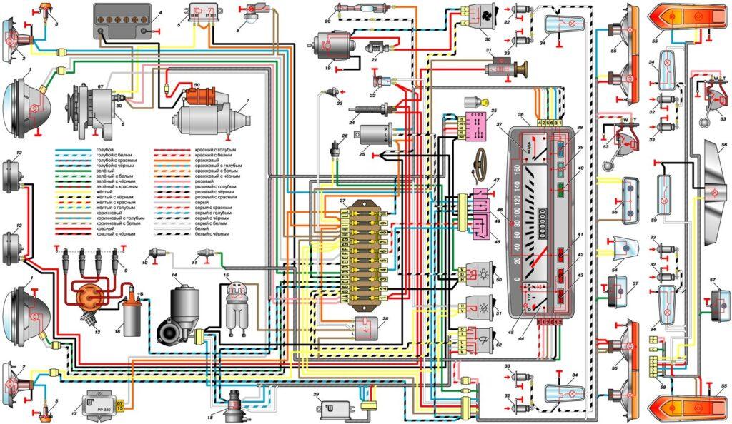 Электрическая схема ВАЗ 2101(2102)