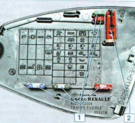 Монтажный блок реле и предохранителей в салоне Дача Логан 1