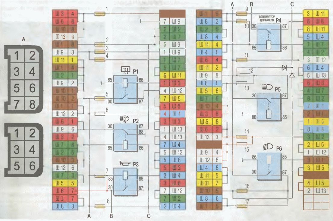 Схема монтажного блока ВАЗ 2104 2105