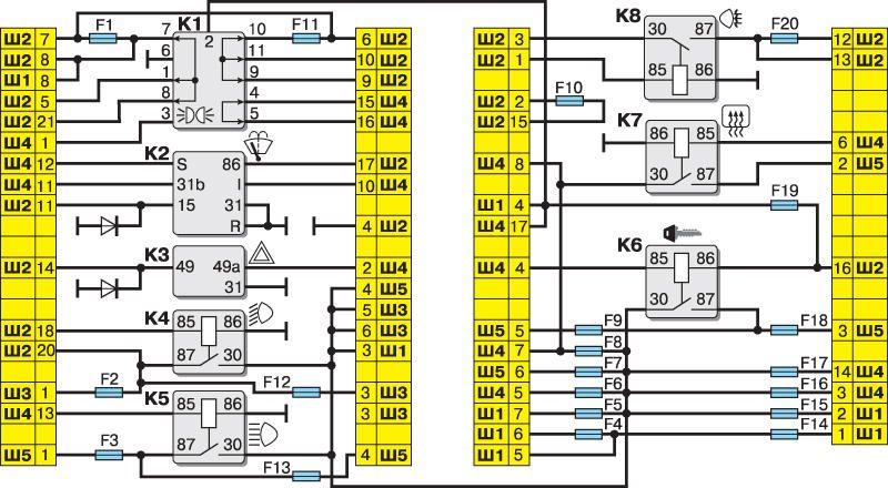 Электрическая схема блока ВАЗ 2110 2111 2112