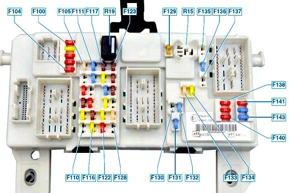 Схема расположения предохранителей в салонном блоке моделей после 2007 года выпуска (рестайлинг)