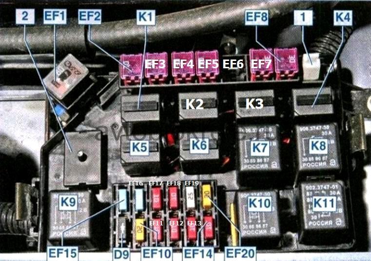 Схема блока предохранителей и реле в моторном отсеке Шевроле Ланос