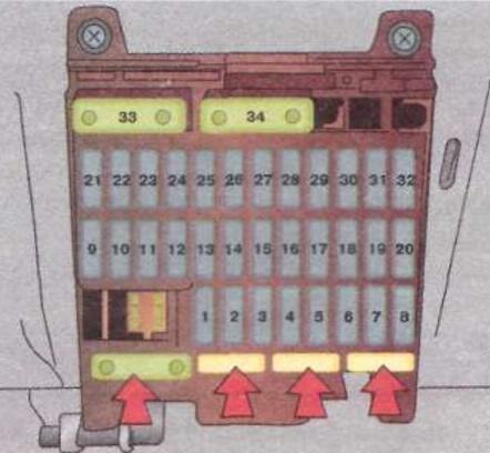 Схема предохранителей в салоне Опель Омега Б