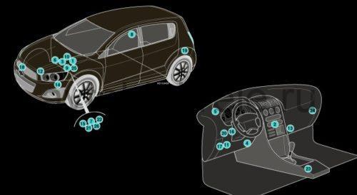 Расположение электронных компонентов Chevrolet Aveo T300