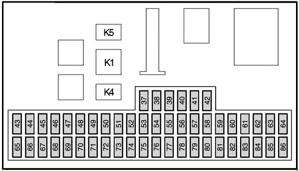 Монтажный блок реле и предохранителей в салоне Ford Focus 2 до 2007 года (дорестайлинг)