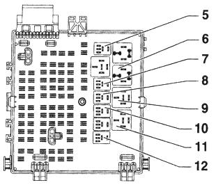 Схема блока реле в багажнике Опель Вектра С (Сигнум)