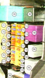 Схема блока предохранителей в салоне Шевроле Авео Т200