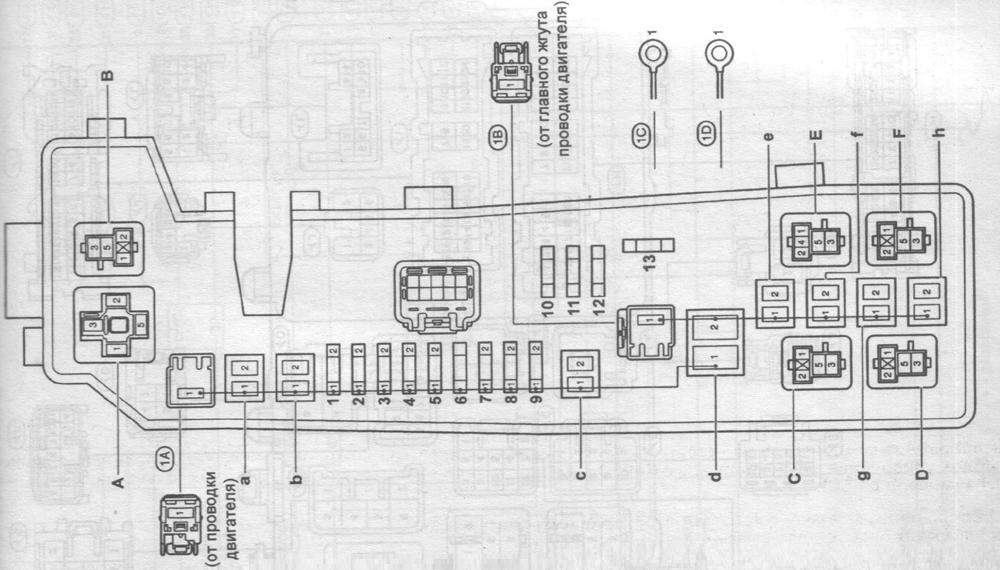 Схема блока предохранителей в моторном отсеке Тойота Королла Е120, Е130