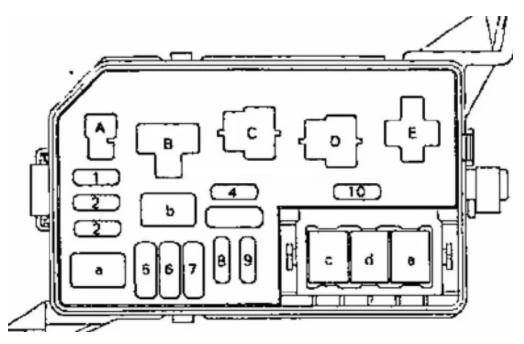 Схема расположение предохранителей Тойота Королла 100