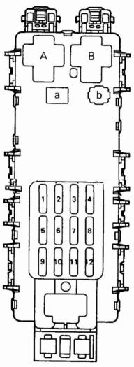 Схема расположения предохранителей и реле в блоке №1 расположенного в салоне Тойота Королла 100