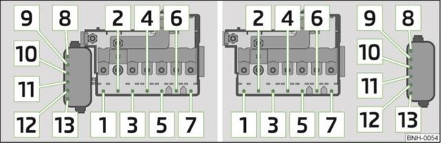 Схема блока предохранителей и реле в моторном отсеке Шкода Рапид