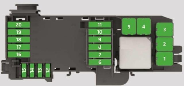 Схема блока предохранителей в моторном отсеке Шкода Рапид