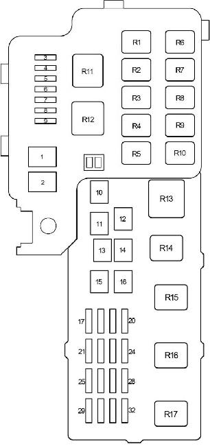 Схема блока предохранителей и реле под капотом Тойота Камри 30