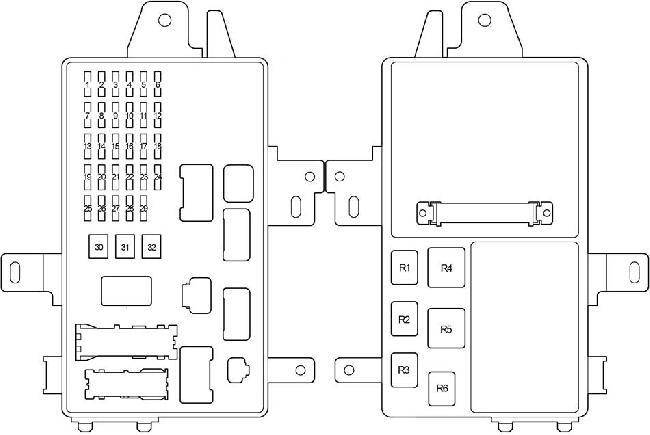 Схема блока предохранителей и реле в салоне Тойота Камри 30
