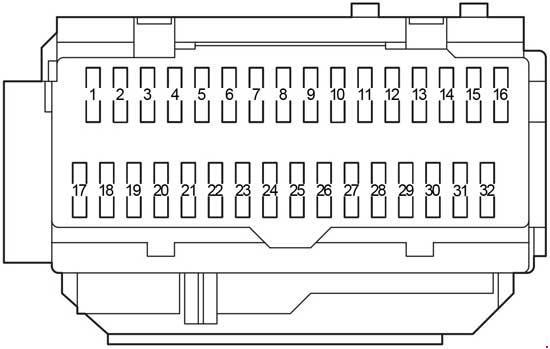 Блок предохранителей Блок управления электрооборудованием кузова Реле указателей поворота (аварийная сигнализация) Распределительный блок №3 Блок ID (автомобили с системой Smart System) Транспондер ключа (автомобили без системы Smart System) Распределительный блок (CAN) Распределительный блок №4 Усилитель кондиционера Блок сертификации Блок контроля давления в шинах Центральный блок подушек безопасности Аудио усилитель Блок блокировки селектора коробки передач Усилитель сигнала ключа Блок блокировки руля