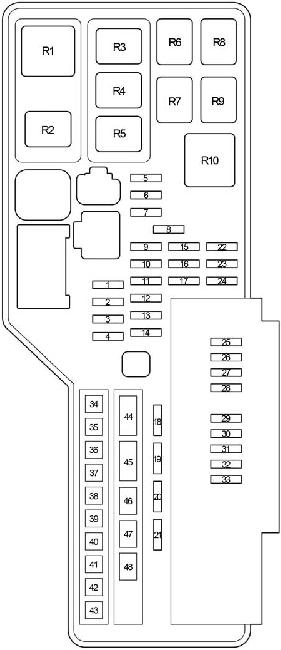 Схема блока предохранителей и реле в моторном отсеке Тойота Камри 40 (на рис 2)