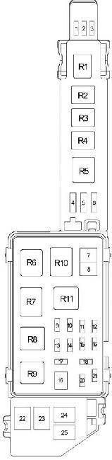 Схема блока предохранителей в моторном отсеке Тойота Камри 20