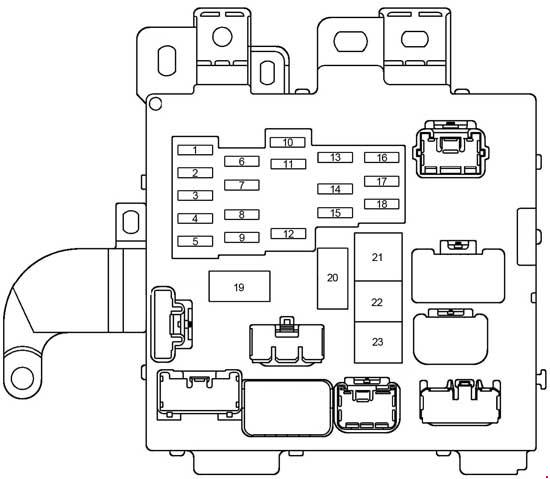 Схема блока предохранителей в салоне Тойота Камри 20 (на рис 1)