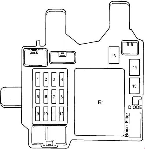 Схема блока предохранителей и реле в Тойота Камри 10