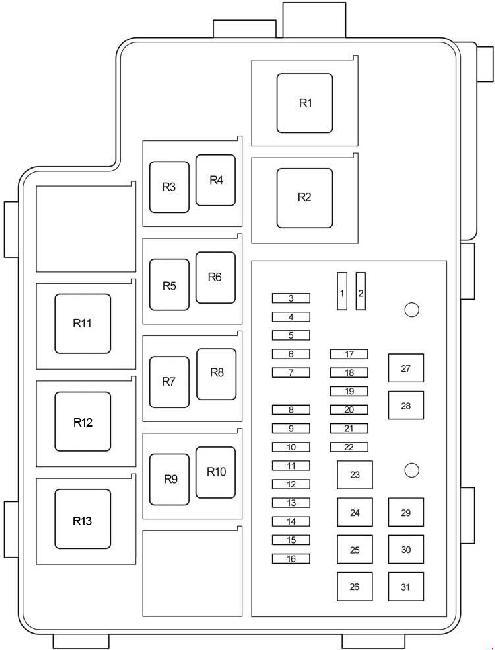 Схема блока предохранителей и реле под капотом Тойота Рав4 ХА30 (блок №1)