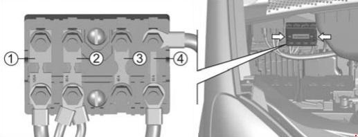 Блок предохранителей на щитке моторного отсека
