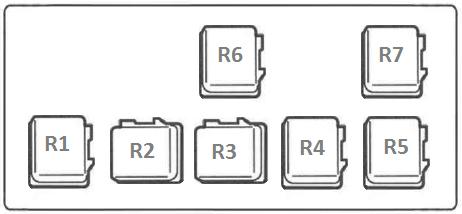 Схема предохранителей и реле в моторном отсеке Nissan Almera N16