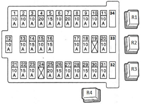 Схема блока предохранителей в салоне Ниссан Альмера Н16