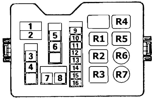 Схема блока предохранителей и реле в моторном отсеке Митсубиси Паджеро 2