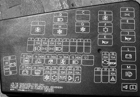 Схема блока предохранителей и реле в моторном отсеке Митсубиси Спейс Стар