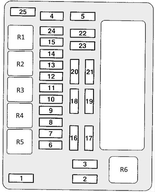 Схема основного блока предохранителей и реле в моторном отсеке Митсубиси Аутлендер 1