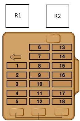 Схема блока предохранителей в салоне Митсубиси Паджеро 2