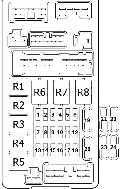 Схема блока предохранителей и реле в салоне Митсубиси Ланцер 9