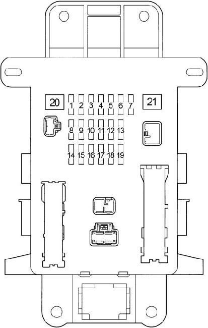 Блок предохранителей в салоне Тойота Рав 4 (на рис 1)