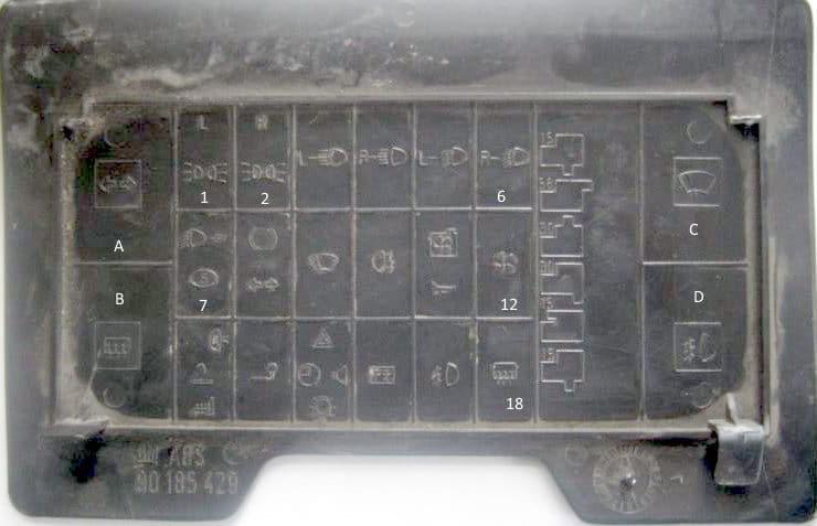 Схема предохранителей на крышке блока Опель Кадет