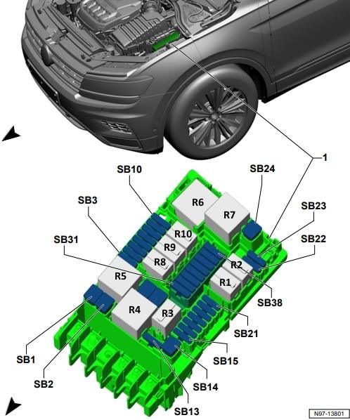 Схема блока предохранителей и реле под капотом Фольксваген Тигуан 2