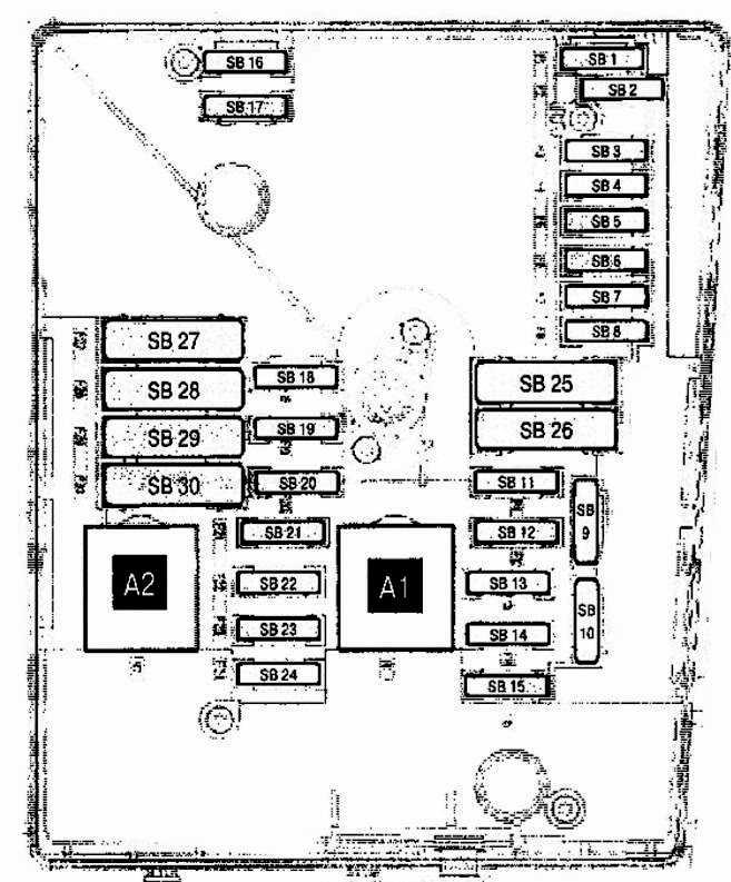 Схема блока предохранителей под капотом Фольксваген Тигуан 1 поколения (Вариант 1)
