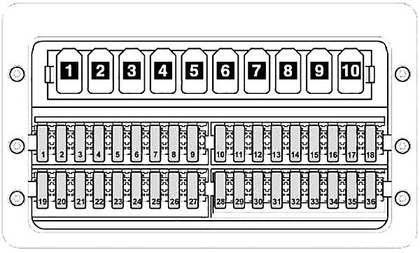 Схема блока предохранителей под водительским сиденьем Фольксваген Крафтер (автомобили до 2011 года)