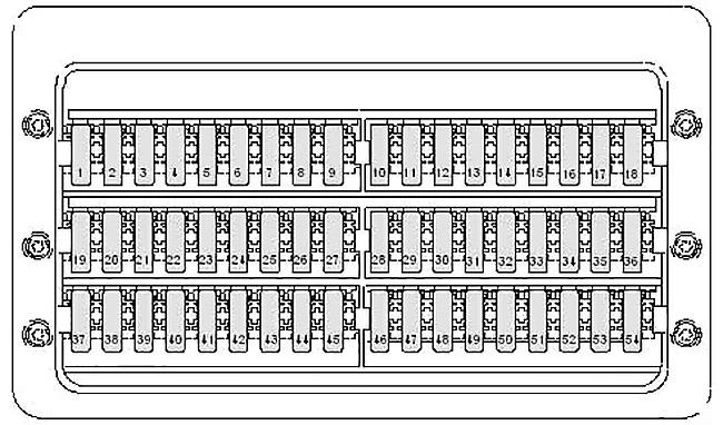 Схема блока предохранителей под водительским сиденьем Фольксваген Крафтер (автомобили после 2011 года)
