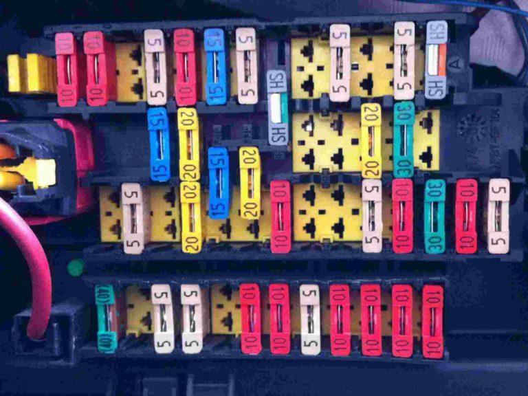 Схема блока предохранителей в салоне Пежо 206 (автомобили до 2002 года)
