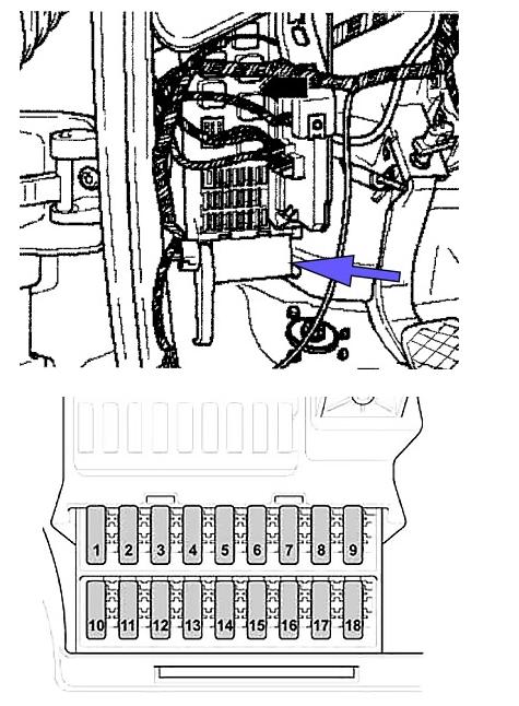 Схема держателя предохранителей SB