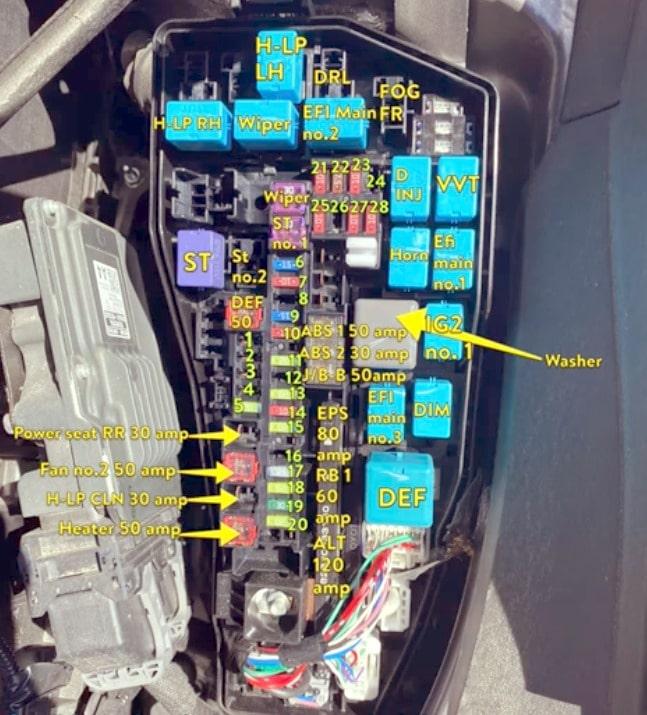 Схема блока предохранителей и реле под капотом Тойота Камри 70