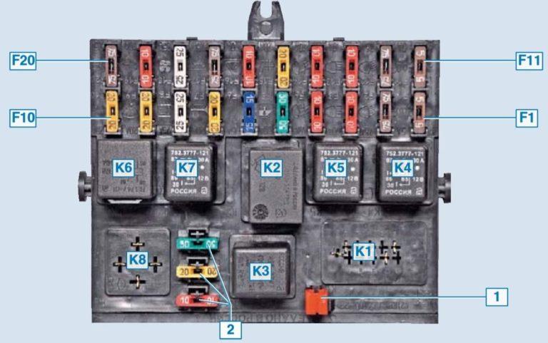 Схема блока предохранителей и реле Шевроле Нива (2009 - 2020 г.в.)