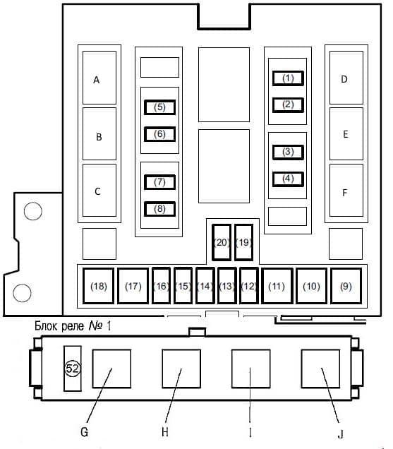Схема основного блока предохранителей под капотом Suzuki Grand Vitara